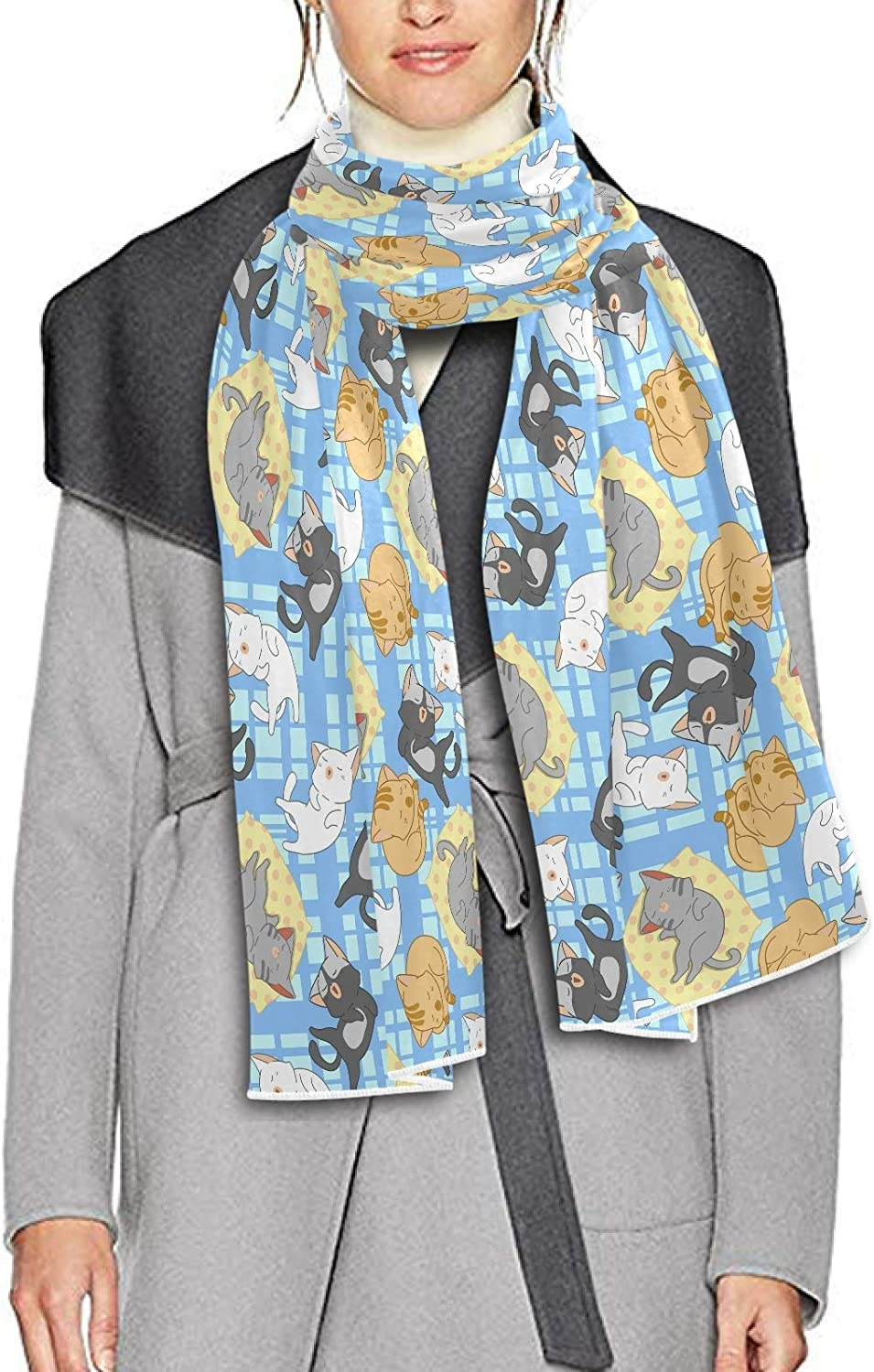 Scarf for Women and Men Cute Cats Sleeping Shawl Wraps Blanket Scarf Soft Winter Large Scarves Lightweight