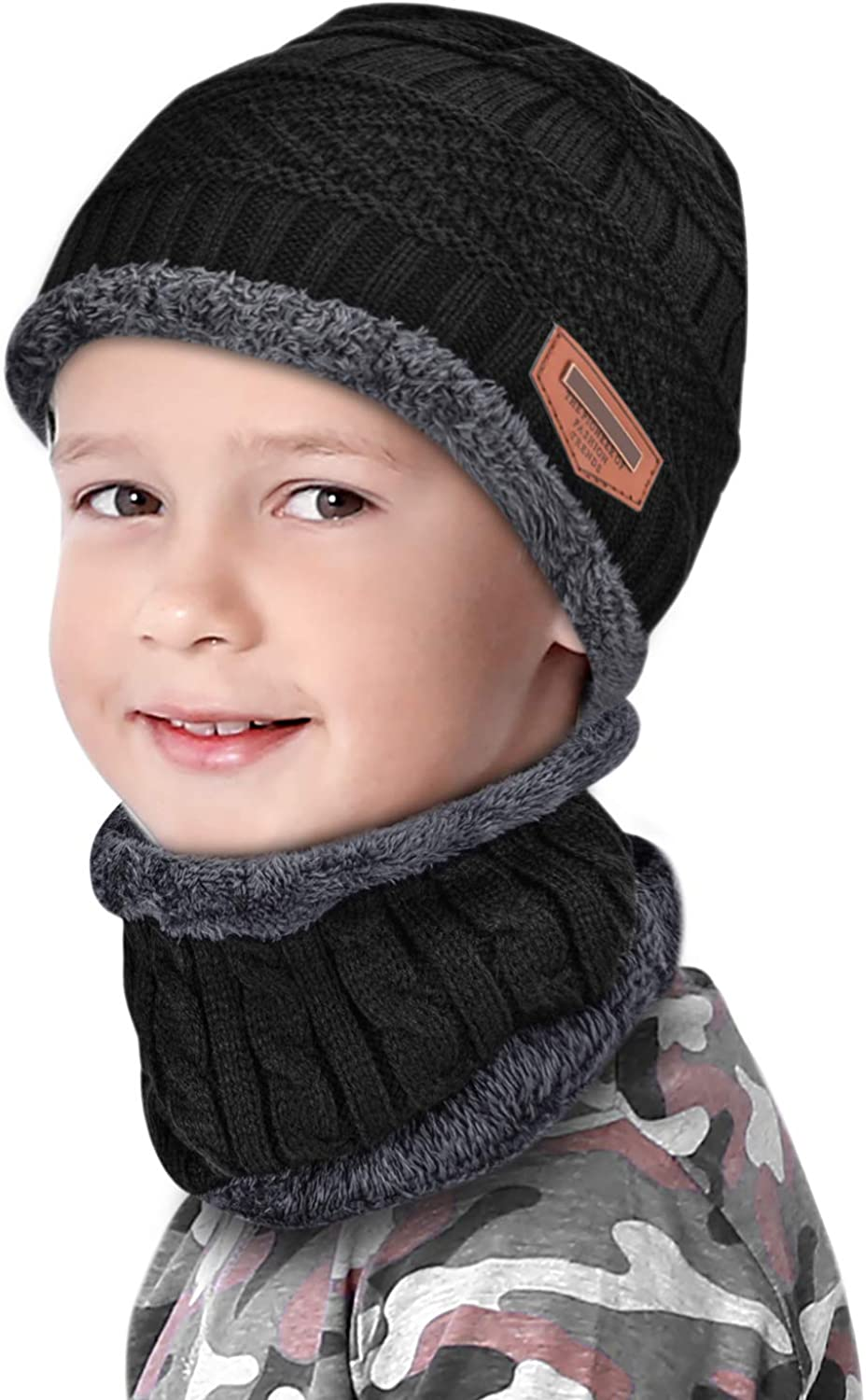 Kids Winter Hat and Scarf Set Warm Knit Beanie Cap and Circle Scarf for Boys Girls