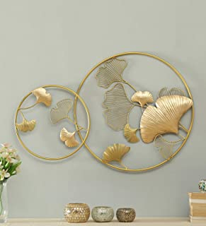 Vedas Exports Gold Iron Sadh Ginko Wall Art Decorative Hanging & Sculpture Living Room Decor (Size 36 x 24 inches)