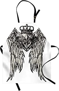 Lunarable Fleur De Lis Apron, Tribal Tattoo Design with Wings Historic Crest Crown and Eagle, Unisex Kitchen Bib Apron with Adjustable Neck for Cooking Baking Gardening, Eggshell Black