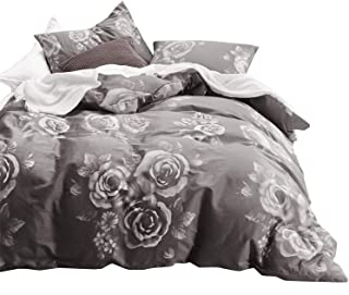 Wake In Cloud - Gray Floral Duvet Cover Set, 100% Cotton Bedding, White Rose Flowers Pattern Printed on Dark Grey, with Zipper Closure (3pcs, Queen Size)