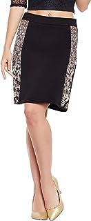 Martini Women Golden Sequin Hand Work Party Skirt (Black, 28)