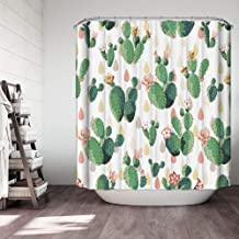 Nordmiex Waterproof Shower Curtain - Polyester Shower Curtains with 12 Grommet Hooks for Bathroom, Cactus-180X180CM