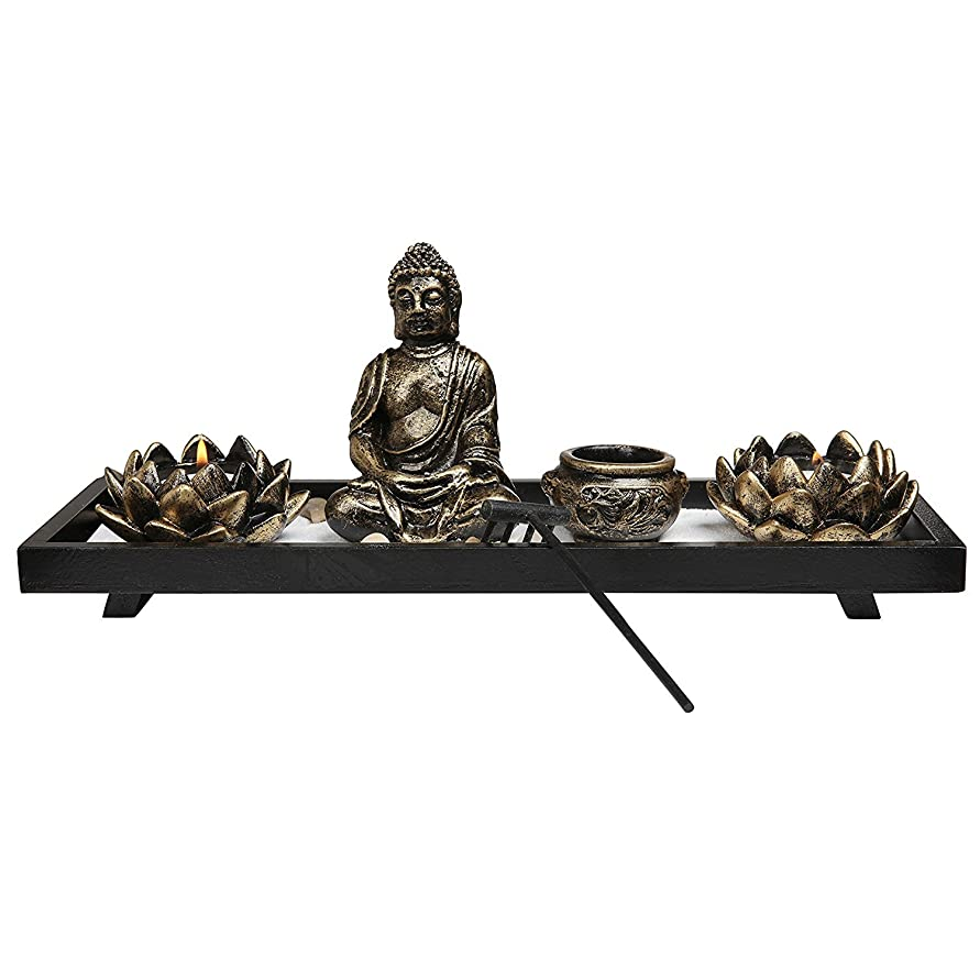 通信網悲劇の配列Royal Brands' Zen Garden with Buddha, Rake, Tea Light Candle and Incense holder - Peace and Tranquilly (37cm x 13cm x 7