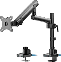 VIVO Premium Aluminum Full Motion Single Monitor Desk Mount Stand with Lift Engine Arm, Pole Extension, and USB Ports, Fit...