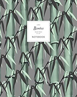 Bamboo Notebook - Ruled Pages - 8x10 - Large: (Dark Grey Edition) Notebook 192 ruled/lined pages (8x10 inches / 20.3x25.4 ...