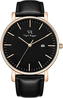 Vigor Rigger Men's Watch Simple Thin Quartz Leather Strap Wrist Watches