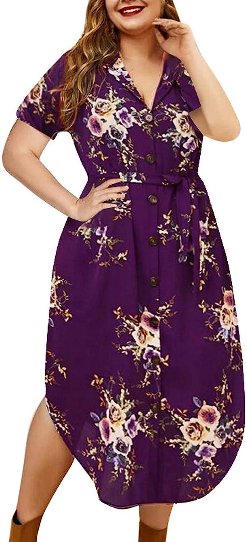 SRTUMEY Women's Long Dress Cute Summer Casual Flower Printed Lapel Button Short Sleeve Large Size Dresses Maxi Dress