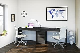 Nexera Sereni-T 3 Piece Double Writing Desk Set in Black and Ebony