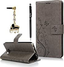 Note 5 Case,Samsung Galaxy Note 5 Case - Badalink Fashion Wallet PU Leather with Embossed Flowers Butterfly [Card Holders] Flip Cover with Hand Strap & 3D Cute Elephant Dust Plug & Stylus Pen - Gray