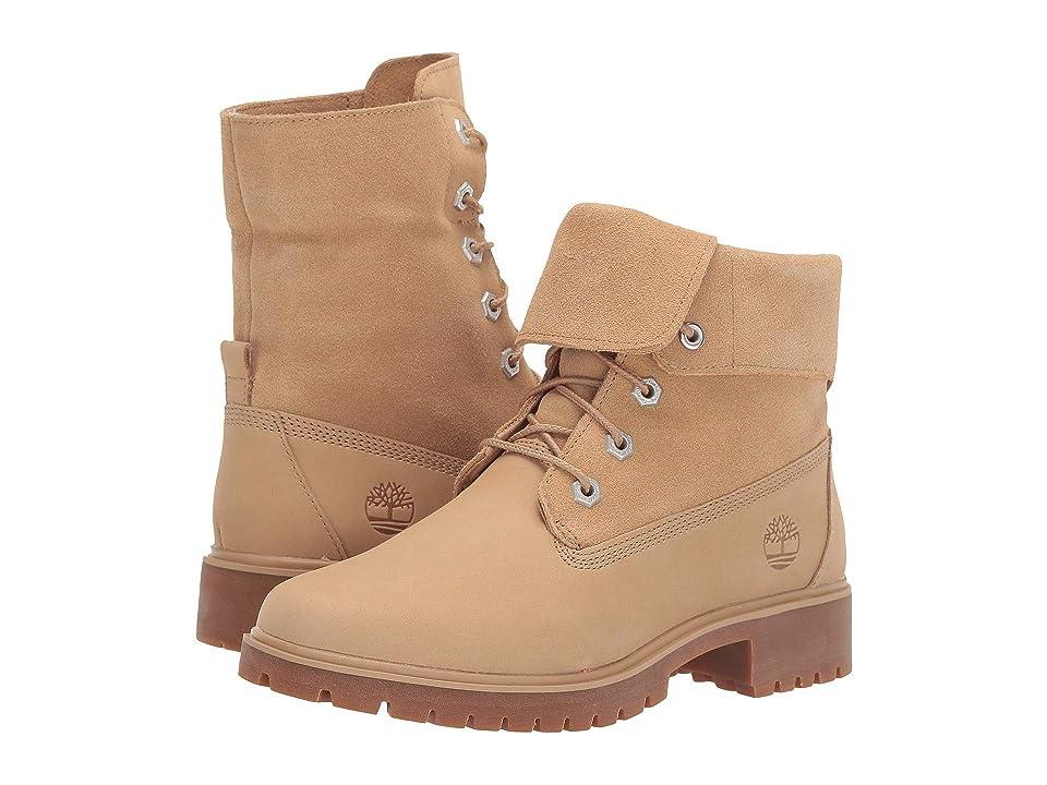 Timberland Jayne Fold Down Boot (Medium Beige Nubuck) Women's Lace-up Boots, Brown
