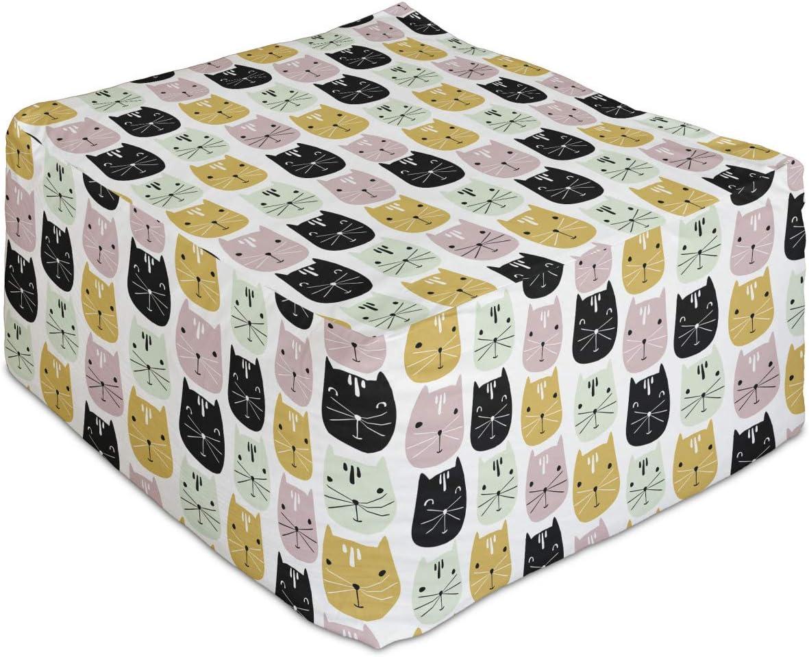 Lunarable Kitten New sales Rectangle Pouf Cat Portraits Our shop OFFers the best service Various in Tones