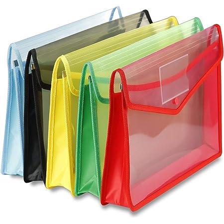 GreatDio® Envelope Folder,Transparent Poly-Plastic A4 Documents File Storage Bag with Snap Button Set of 5/Certificate File Holder/Document Folder for Certificates A4/Legal/Bag for Document