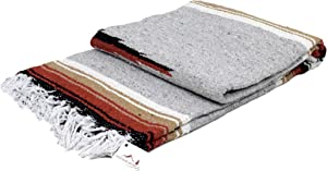 Open Road Goods Heather Gray Mexican Yoga Blanket - Thick Grey Navajo Diamond Blanket with Camel, Tan Brown, Rust Orange Red Clay Stripes