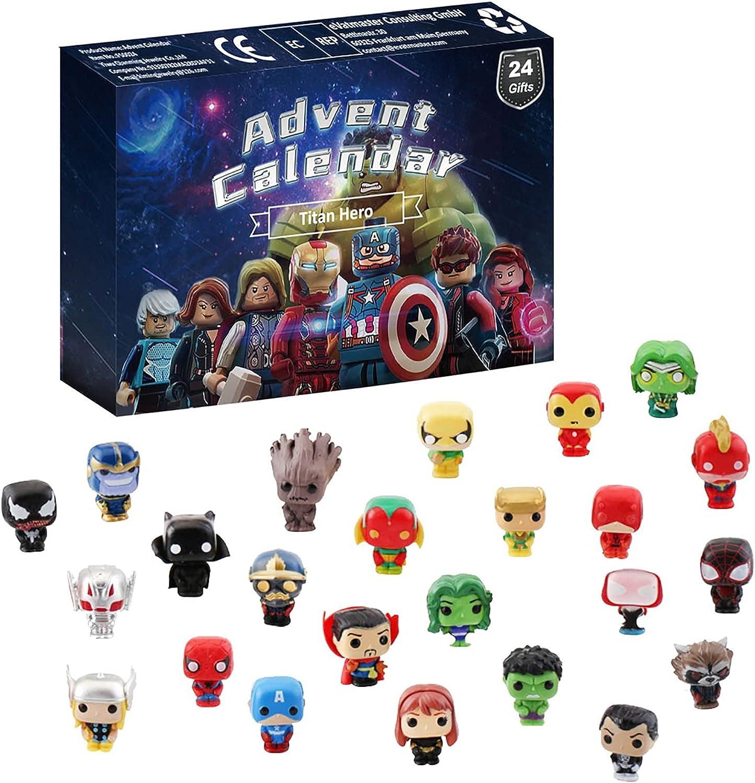 Figuras de acción de superhéroes Calendario de Adviento 2021 Juego de juguetes, Calendario de Adviento Fidget, Calendario de cuenta regresiva de Navidad de 24 días Caja de figuras de superhéroes-1PCS