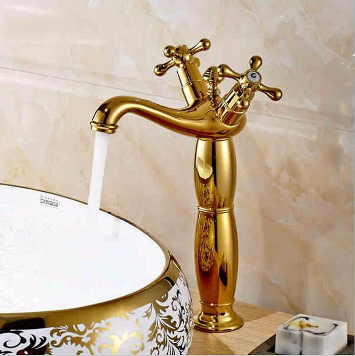Hlluya Professional Sink Mixer Tap Kitchen Faucet The copper gold bathroom basin taps, double the mixing of hot and cold water sink water faucet