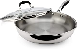 AVACRAFT 18/10 Tri-Ply Stainless Steel Frying Pan with Lid, Side Spouts, Stay Cool Handle, Induction Pan, Versatile Stainless Steel Skillet, Fry Pan in our Pots and Pans (Tri-Ply Full Body, 12 Inch)