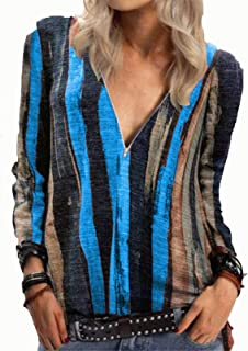 Women's Causal Tunics Sexy V-Neck Zipper Long Sleeves Pullover Sweatshirts Tops Basic T-Shirt Blouse Shirts Tee (Color : B...