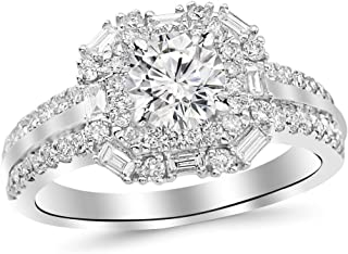 1.44 Carat t.w. Round Double Row Baguette and Round Halo Diamond Engagement Ring K I2 Clarity Center Stones.
