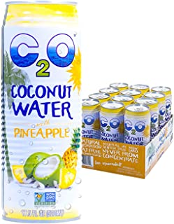 C2O Pure Coconut Water with Pineapple | Plant Based | Non-GMO | No Added Sugar | Essential Electrolytes | 17.5 FL OZ (Pack of 12)