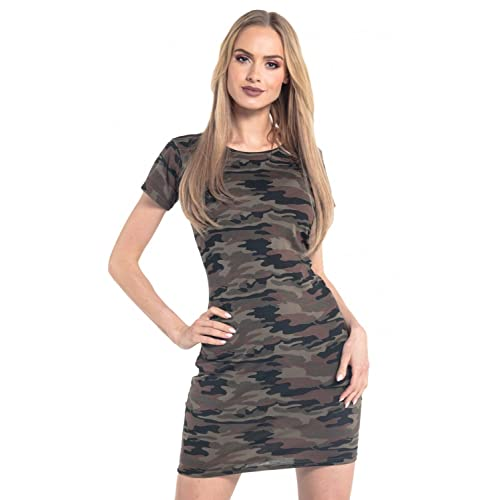adc569a6811 Womens Shift Dress Camo Pattern Short Sleeves Crew Neck. 196 (Camouflage