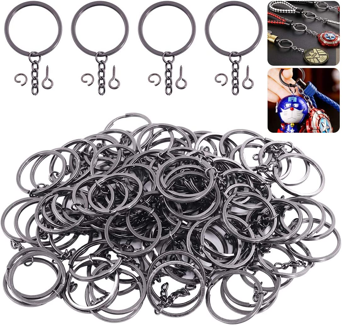 Keadic 300Pcs 20//25//30//35mm Flat Key Chain Rings with Chain and Screw Eye Pins Kit for Home Car Keychains Nickel Plated, Black Lanyards Gifts and Other Crafts Jewelry Making