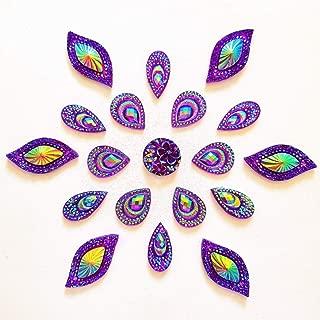 succi shan 80 Big Flower Mixed Size Sew On Rhinestones Flatback Beads Stones Sewing for Clothing Wedding Dress Decorations 2 Holes (Purple)