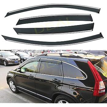 Amazon Com Fits For 2007 2011 Honda Crv Cr V Clip On Smoke Tinted Window Visor Vent W Chrome Trim Automotive
