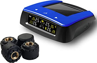 VESAFE Universal Solar TPMS, Wireless Tire Pressure Monitoring System with 4 DIY External Cap Sensors(0-6Bar/0-87Psi), Real-time Display 4 Tires' Pressure and Temperautre. (Color Display)