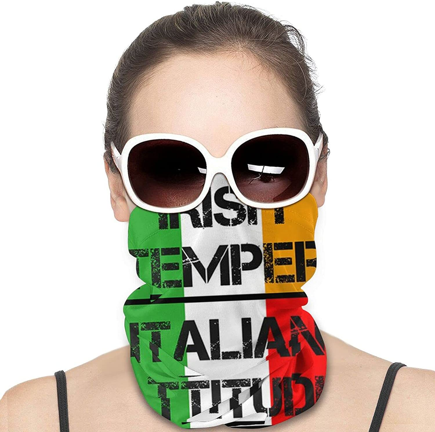 Italian Heritage Yeah I'm Italian Round Neck Gaiter Bandnas Face Cover Uv Protection Prevent bask in Ice Scarf Headbands Perfect for Motorcycle Cycling Running Festival Raves Outdoors
