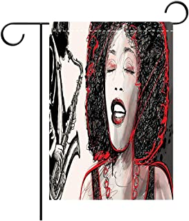 Artistically Designed Yard Flags, Double Sided Afro Decor African American Girl Singing with Saxophone Player Popular Sound Design Decorative Deck, patio, Porch, Balcony Backyard, Garden or Lawn