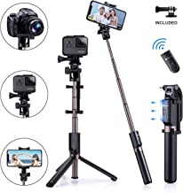 Humixx 4-in-1 Selfie Stick Tripod Professional Pocket Lightweight Heavy Duty Aluminum Tripod Stand with Bluetooth Remote Shutter Compatible with iPhone Samsung Android Cellphone Camera GoPro