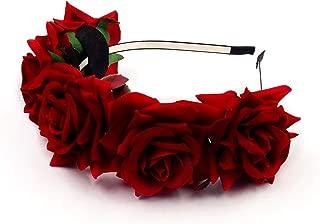 JZK® Rojo corona flores diadema tiara guirnalda flores pelo cabeza hairband guirnalda headpiece para boda novia dama honor flores chica prom cumpleaño fiesta party viaje fotografía
