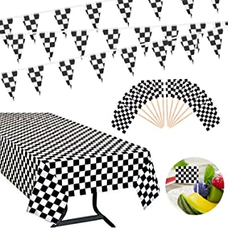 OOTSR 30 Feet Checkered Flag Banner Bunting and Plastic Banquet Table Cover (54