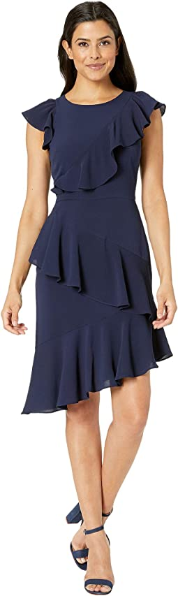 Catalina Crepe Asymmetric Sheath Dress