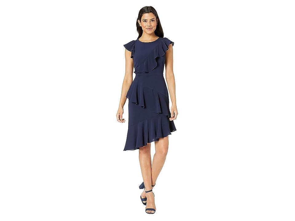 14fd8deb Maggy London Catalina Crepe Asymmetric Sheath Dress (Galaxy Blue) Women