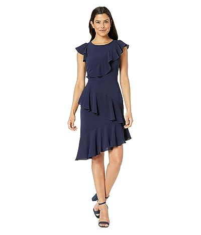 Maggy London Catalina Crepe Asymmetric Sheath Dress (Galaxy Blue) Women