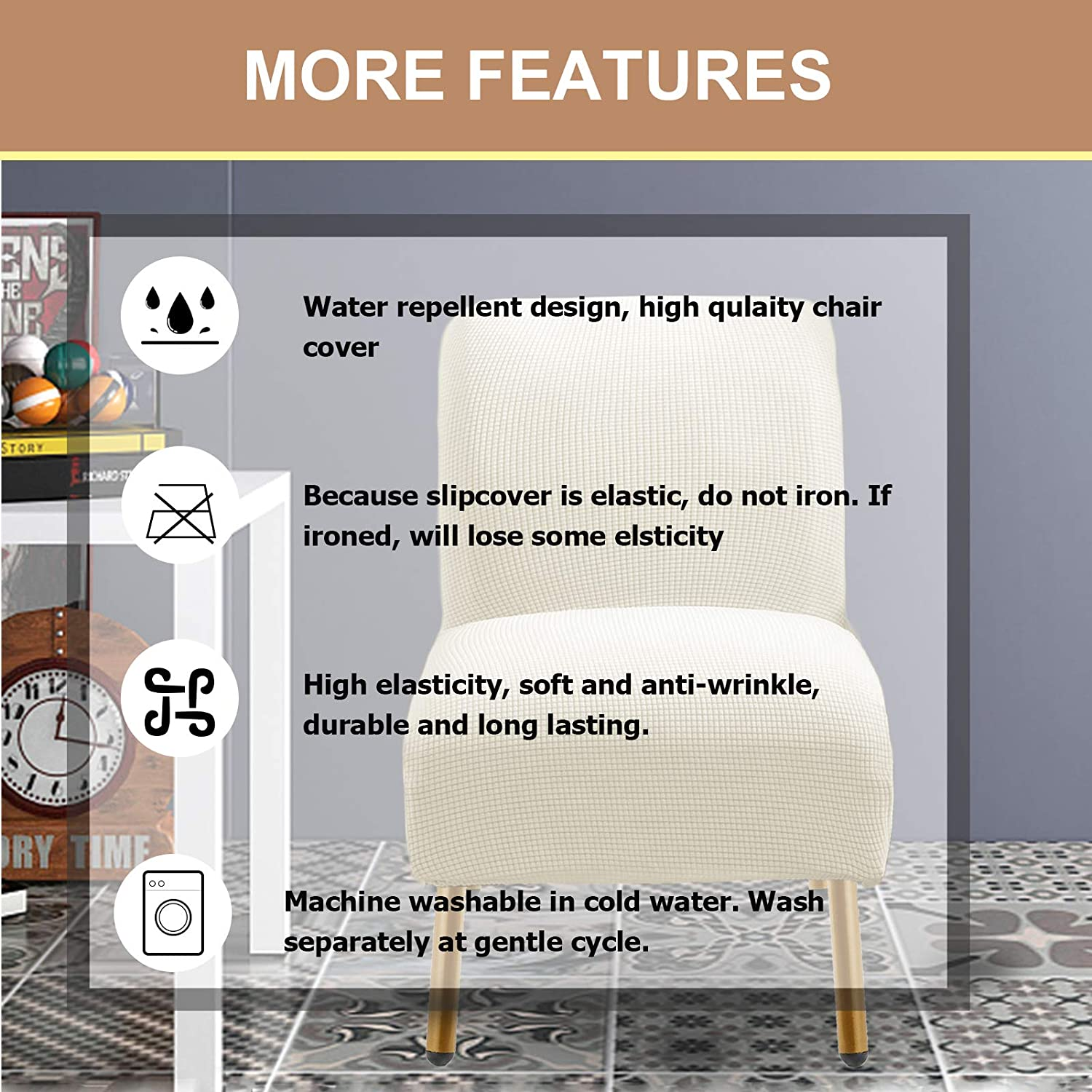 ZC MALL Armless Accent Chair Slipcover,Stretch Spandex Jacquard Fabric for Armless Accent Chair,Non-Slip Sofa Couch Cover Furniture Protector for Dining Living Room Office Reception Chair,Ivory