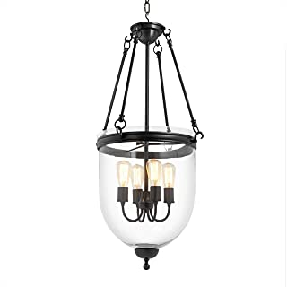 Georgian Bronze Hanging 4-Light Lantern | Eichholtz Cameron | Gunmetal Finish Clear Glass Ceiling Lamp | Modern Luxury Lighting