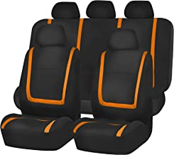 FH Group FH-FB032115 Unique Flat Cloth Seat Cover w. 5 Detachable Headrests and Solid Bench Orange/Black- Fit Most Car, Truck, SUV, or Van