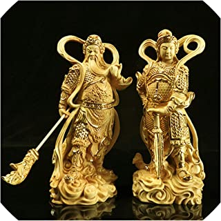 Nova's choice-statues Exquisite Guan Gong Bouddha Bodhisattva Ornaments Around The Guardian God Statue Door Home Decor Accessories,Dark Khaki,12.5Cm