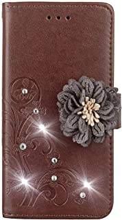 Matop Compatible for Galaxy A6 Plus Wallet Leather Case Luxury Folio Flip Stand Magnetic [Kickstand Feature] Credit Card Holder ID Slot Diamond Flower Anti-Scratch Shockproof Protective Cover