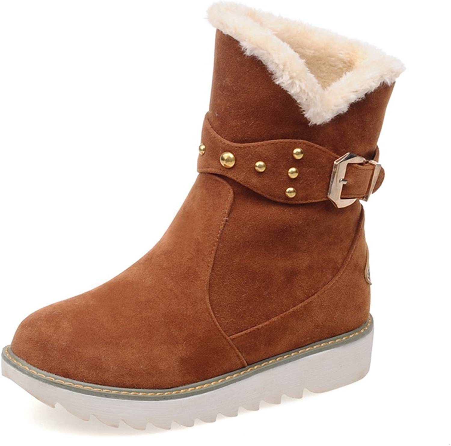 Jeff Tribble Warm Faux Fur Waterproof Snow Boots Women Winter Fashion Ankle Boots Big Size Black Brown Beige color