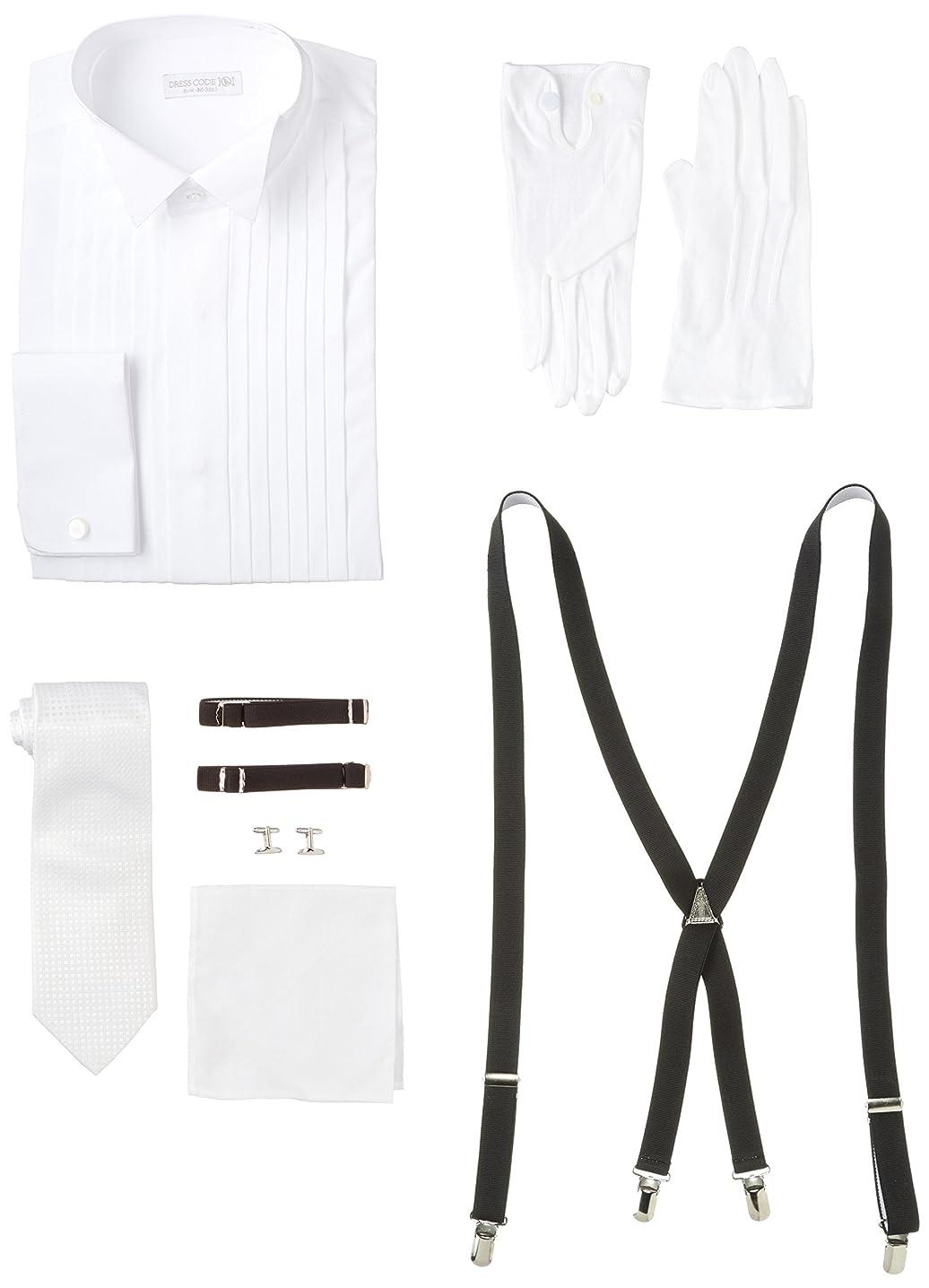 一般化する巨人タップ[ドレスコード101] [ウイングカラー] コスパ最強フォーマル7点セット ウィングカラーシャツ ダブルカフス BRIDAL-WH-6SETS メンズ