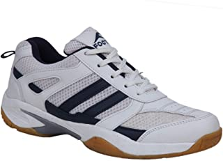 FOOTFIX RYDE Unisex (Non-Marking) PU Badminton Shoes White Navy