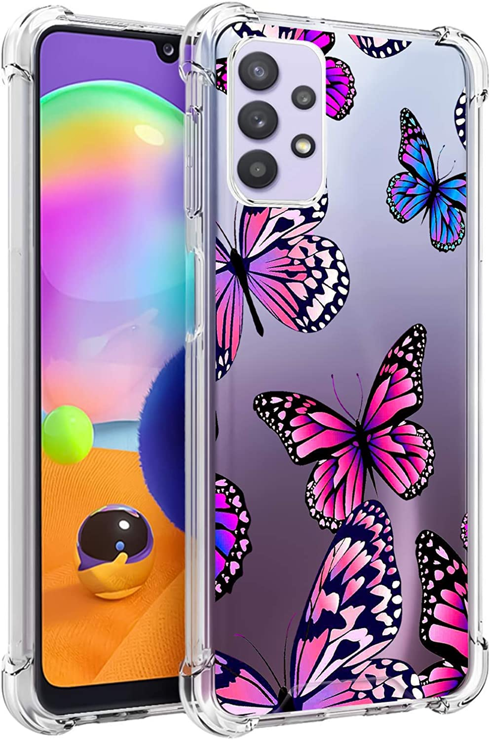 LSL Samsung Galaxy A32 5G Clear Case Butterflies Floral Cute Design Pattern Hard PC Back + Soft TPU Edges Shockproof Full Body Protection Wireless Charging Cover for Galaxy A32 5G 6.5 Inch