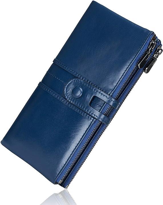 Portafogli da donna in vera pelle, multifunzione, sottile, con cerniera, grande capacità porta carte roulens USROU1938-3
