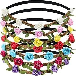 Coronas de Flores, JTDEAL 7 Colores Diademas de Flores, Flores para el pelo, Tocados de Flores con Cinta Elástica para Mujer y Niña, Para la Novia, Cosplay Actuación, Fiesta, Viajes