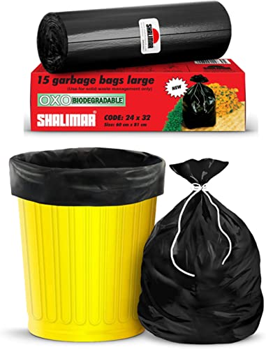 Shalimar Premium OXO - Biodegradable Garbage Bags (Large) Size 60 cm x 81 cm 6 Rolls (90 Bags) (Dustbin Bag/Trash Bag...