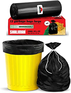 Shalimar Premium OXO - Biodegradable Garbage Bags (Large) Size 60 cm x 81 cm 6 Rolls (90 Bags) (Dustbin Bag/Trash Bag) (Bl...